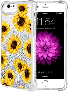 iPhone 6S Plus Case, Caka Flowing Floral Liquid Floating Luxury Bling Glitter Sparkle Soft TPU Case for iPhone 6 Plus 6S Plus 7 Plus 8 Plus (5.5 inch) (Sunflower)