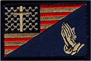 Praying Hand Cross Usa Flag Subdued in God Christian iron on sew on Patch (MTP1)
