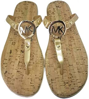 MK Charm Cork Bottom Jelly Flip Flop, Gold, Size 8