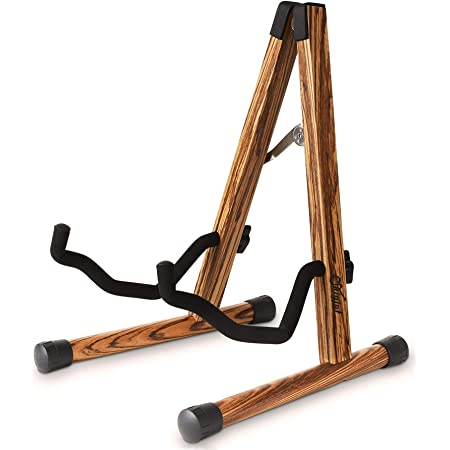 Guitar Stand, Wooden Guitar Stand Acoustic with Padded Foam, Classical Electric Guitar Stand, Compact A-Frame Folding Bass Guitar Display Stand Compatible with Cello, Mandolin, Bass, Banjo, Ukulele