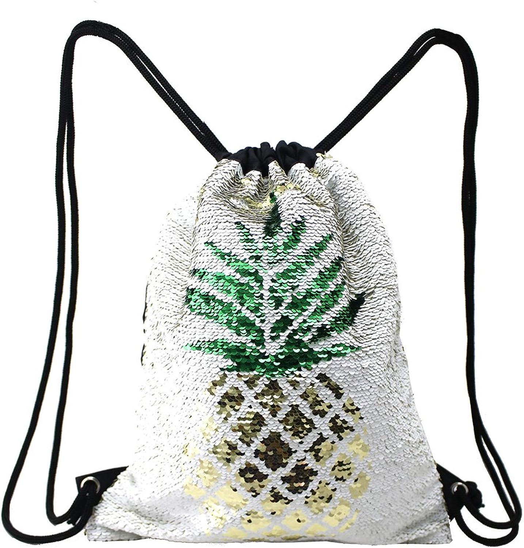 YEMEKE Mermaid Sequin Drawstring Backpack Flip Reversible Glitter Bling Bag for Outdoor Beach Hiking Travel