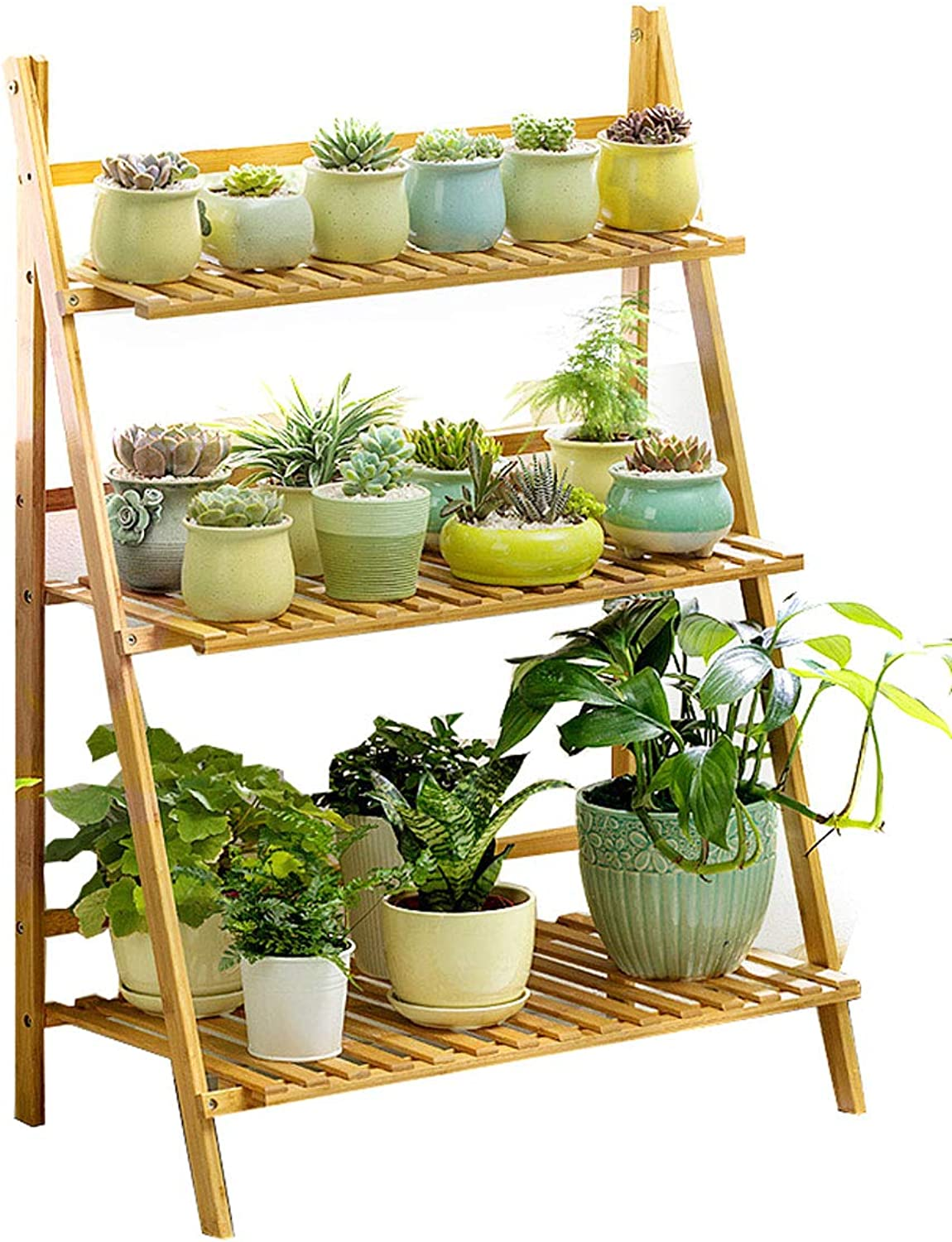 DLoob Natural Bamboo Shelf Plant Stand Display Ladder-Shaped Plant Flower Stand Rack Storage Shelves