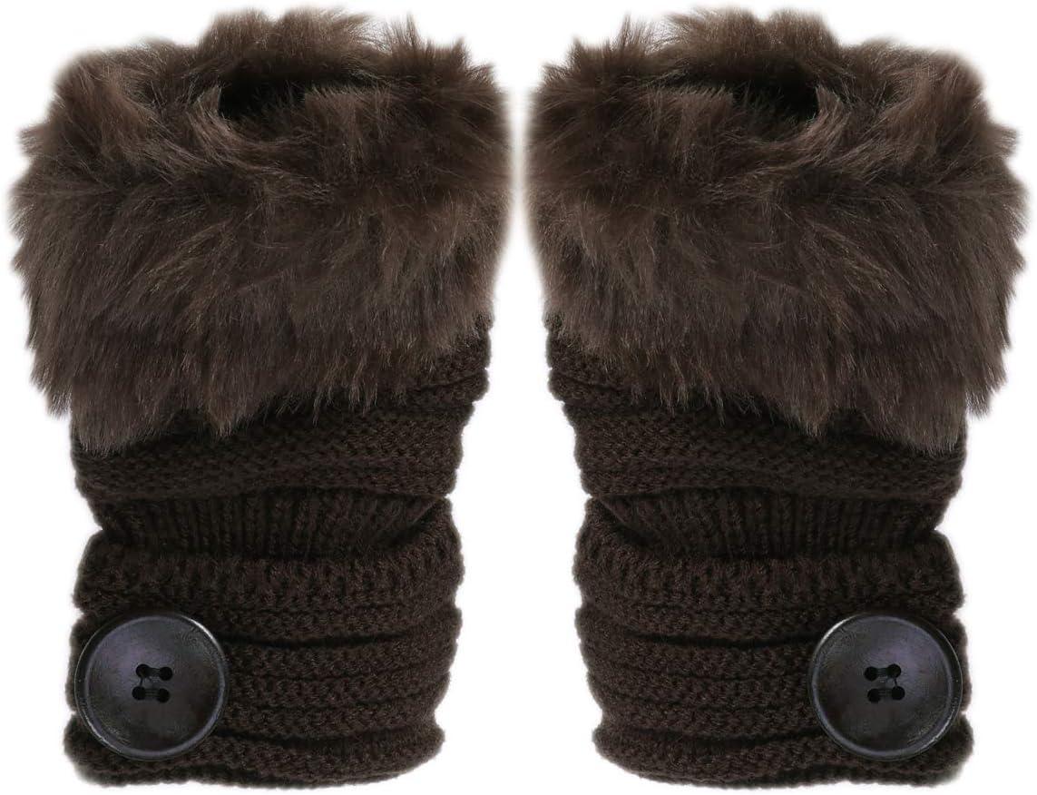 BESTOYARD Women Gloves Fingerless Autumn Winter Warm Knit Button Half Finger Wool Gloves 1Pair
