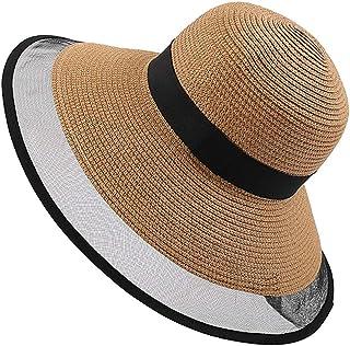 XingKunshop Sun Hat UPF 50- Summer Hat Sun Beach Straw Cap Foldable Wide Brim Gardening Hiking Hat mesh hat Visor Hats Wide Brim Straw Cowboy hat Straw Sun Hats Sunhat,Travel (Color : Yellow)