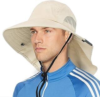 قبعة شمس واسعة الحواف مع غطاء للرقبة، UPF50+ قبعة الصيد لرحلات السفاري للرجال والنساء