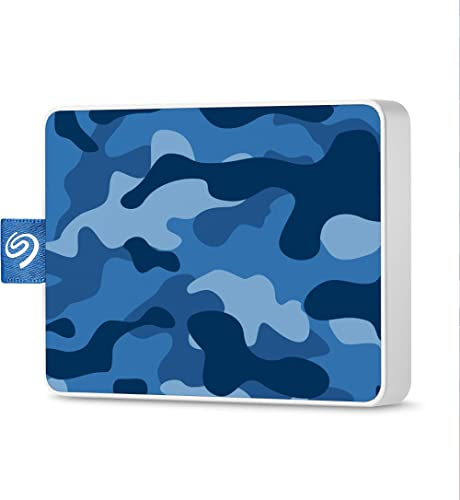 Seagate One Touch SSD 500GB External Solid State Drive Portable – Camo Blue, USB 3.0 for PC Laptop and Mac, 1yr Mylio...