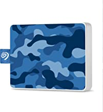 Seagate One Touch SSD 500GB External Solid State Drive Portable – Camo Blue, USB 3.0 for PC Laptop and Mac, 1yr Mylio Create, 2 months Adobe CC Photography (STJE500406)