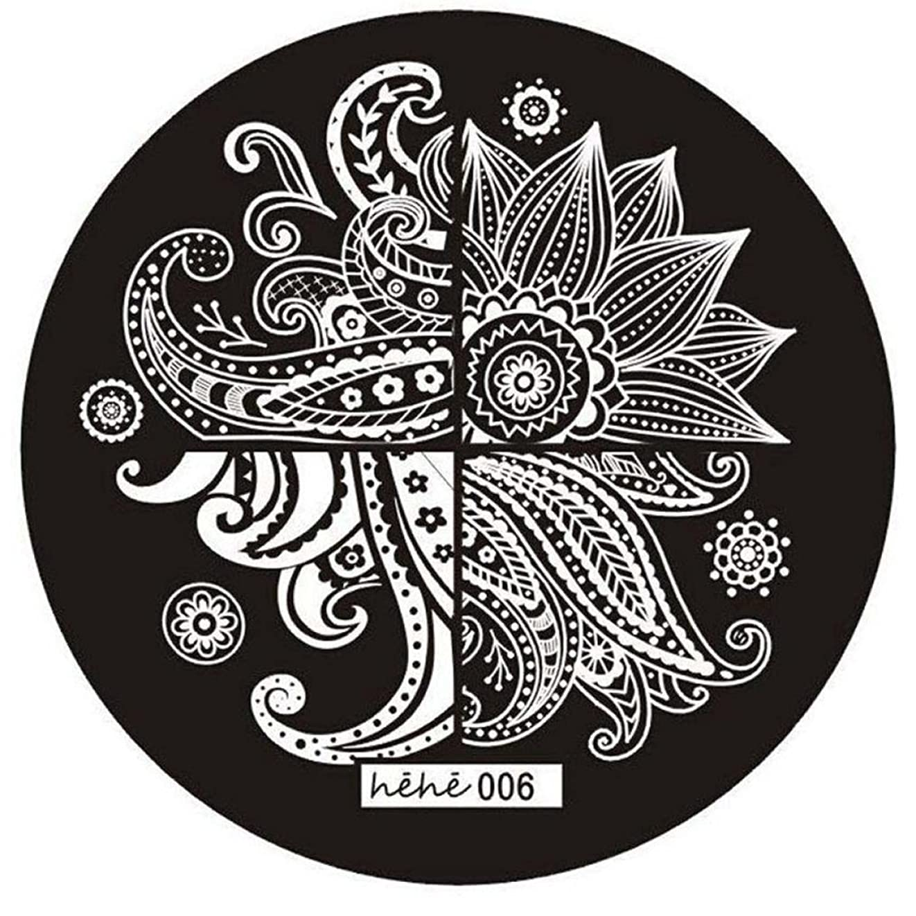 振り返る極小想像力ACAMPTAR 女の子のネイルアートパターンのイメージスタンプ プレートテンプレートマニキュア006