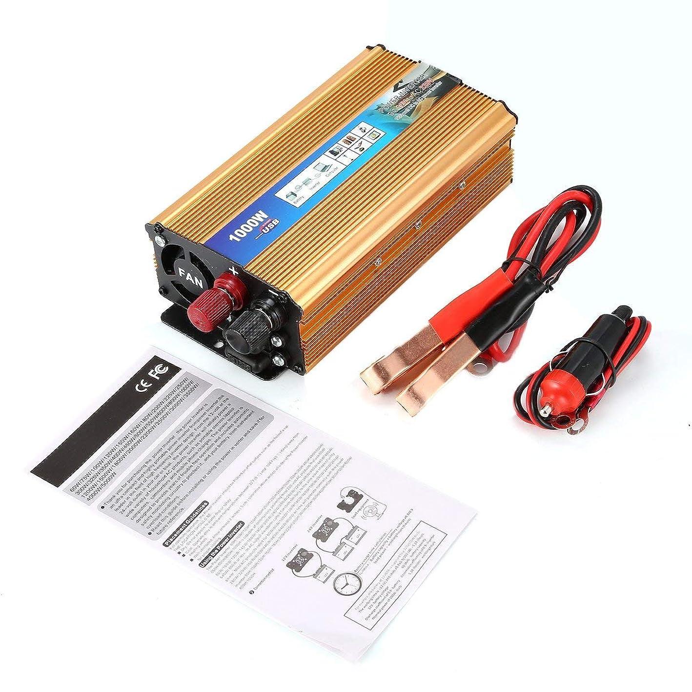 規則性西壊滅的な1000W家庭用電源インバーター電圧変圧器純粋な正弦波電力インバーターDC12VにAC 220Vコンバーター充電器 - ゴールド