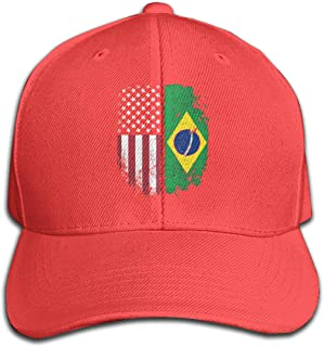 Unisex Vintage Brazilian American Flag Denim Fabric Baseball Hat, Adjustable Dad Hat