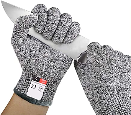 exmart Polyethylene Cut Resistant Safety Protection Gloves for Mandolin Slicing, Fish Fillet, Oyster Shucking, Meat Cutting and Wood Carving, 1 Pair (Grey)