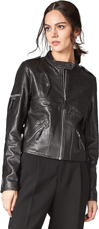 Escalier Women's Real Leather Biker Jacket Lambskin Coat