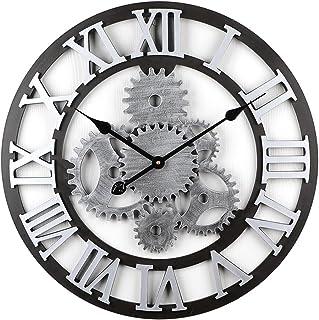 Tosbess 58CM Relojes de Pared Silencioso Grandes Originales de Estilo Vintage para el hogar/la Cocina/la Oficina/la Escuela