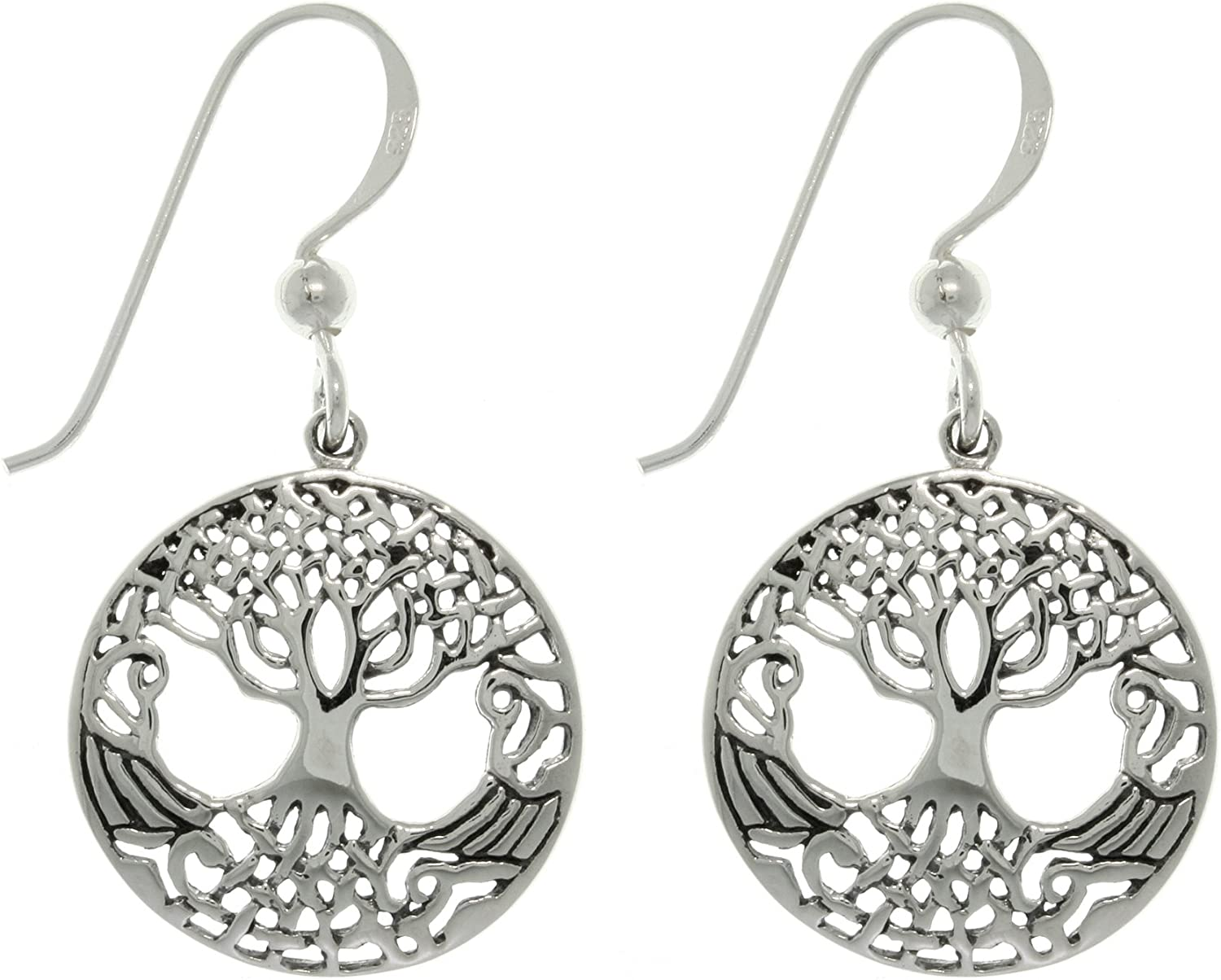 Jewelry Trends Tree of Life Max Indefinitely 71% OFF Dangle Weaved Sterling Round Silver