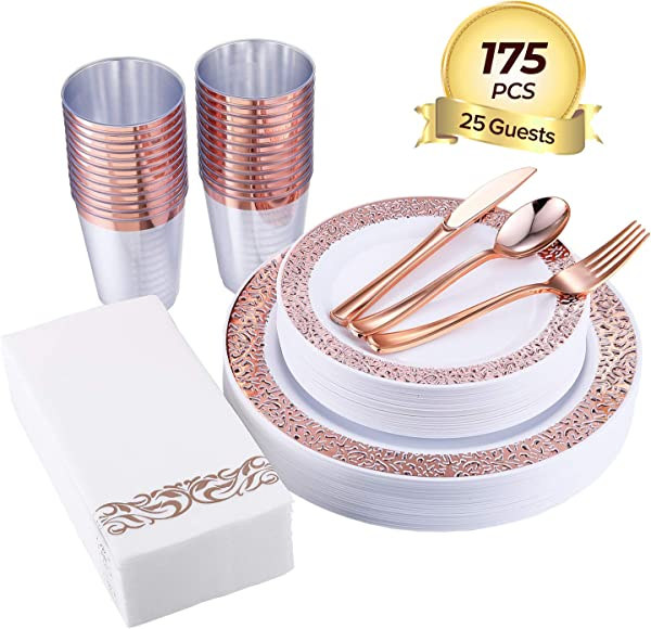 FOCUS LINE 175pcs Rose Gold Plastic Plates Rose Gold Cups Paper Hand Napkins Includes 25 Forks 25 Spoons 25 Knives 25 Dinner Plates 25 Dessert Plates 25 Tumblers 25 Towels