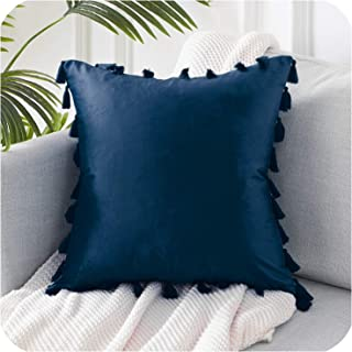 Solarphoenix Soft Velvet Throws Pillowcases Decoration Cushions Covers Square with Tassel for Sofa Bed Car Home Wedding Throw Pillow,45cm x 45cm(18x18in),Navy Blue