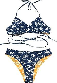 Women's Fresh Leaves Printing Cross Bikini Set