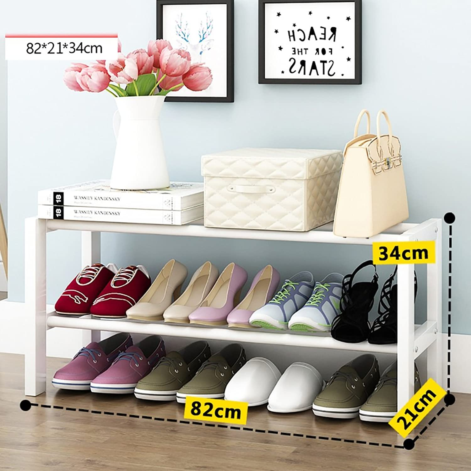 shoes Bench Organizing Rack Solid Wood shoes Rack Home Simple Small shoes Rack dust shoes Rack White shoes Storage Rack (Size   80cm)