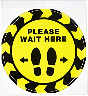 """Avery Social Distancing Floor Decals, Please Wait Here, Yellow, 10.5"""" Diameter, 5 Removable Decals (83020)"""