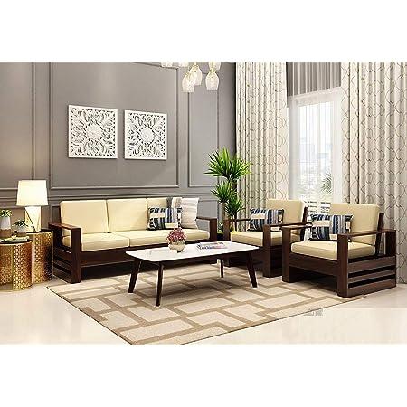 Krishna Wood Decor Solid Sheesham Teak Wood 3+1+1 5 Seater Sofa Set with Cream Cushions Without Pillow ( Beige , Walnut Finish )