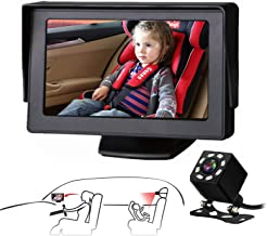 Baby Car Mirror SAMFIWI Car Seat Mirror Camera and Monitor with Infrared Night Vision Best Baby Monitor and Camera for Bab...