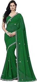 KoC Women wear Wedding Bollywood Party Hand Embroidery Work Saree Sari Fabric