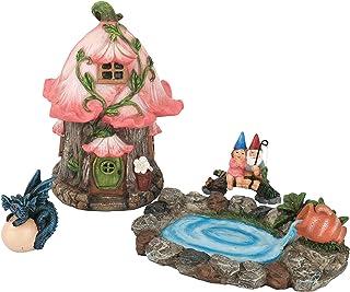 LA JOLIE MUSE Fairy Garden Gnome Accessories Kit - Hand Painted Miniature Fairy House Dragon Figurine Set of 4 pcs, Indoor...