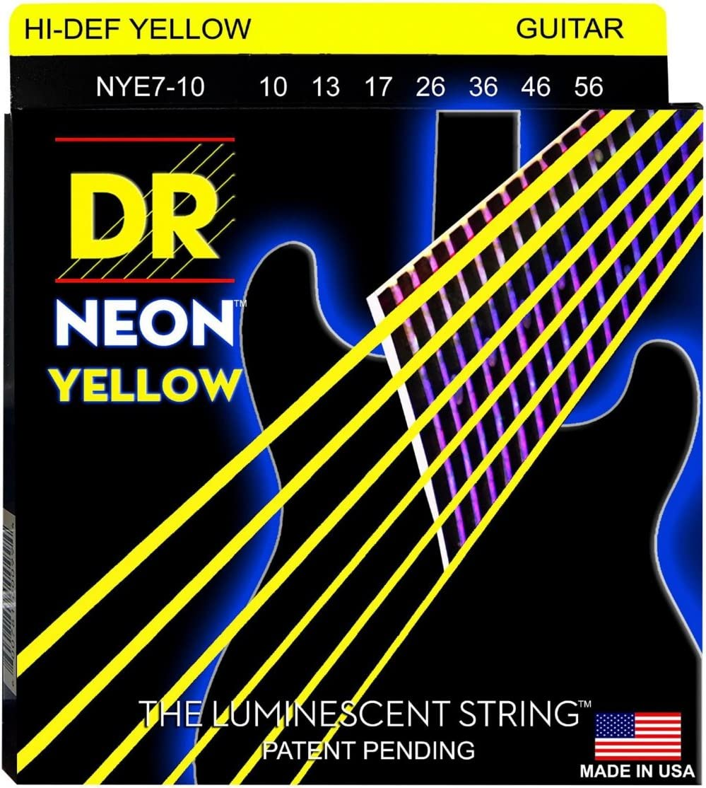 DR lowest El Paso Mall price Strings Hi-Def NEON Yellow Electric Medium Gu 7-String Coated