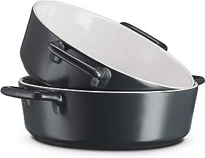 Casserole Dish Round, Baking Pot, Ceramic Baking Dishes/Gratin Dish, Oven Safe, stackable, By Kook, 40 oz, Set of 2