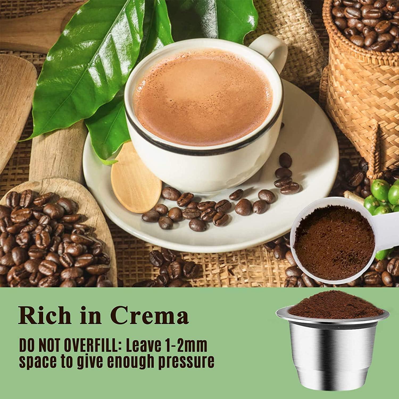 set de 1 c/ápsula c/ápsulas de acero inoxidable c/ápsulas rellenables compatibles con Nespresso originalline contenedor de caf/é para espresso CAPMESSO C/ápsulas de caf/é reutilizables