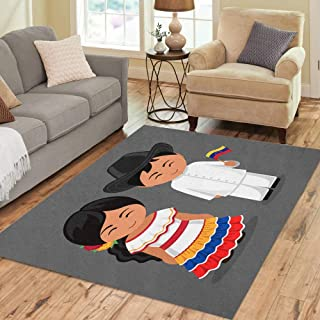 Semtomn Area Rug 3' X 5' Venezuelans in National Dress Flag Man and Woman Traditional Home Decor Collection Floor Rugs Carpet for Living Room Bedroom Dining Room