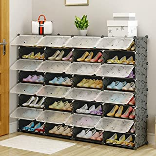 MAGINELS Shoe Rack,Plastic Cube Storage Organizer Units,Modular Shoe Cabinet with Doors, Black (Flowers, 36-Cube)