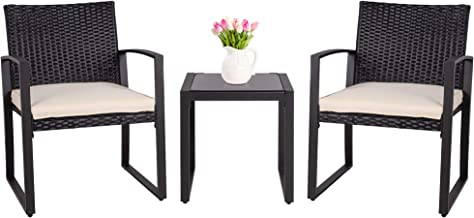SUNLEI 3 Pieces Patio Set Outdoor Wicker Patio Furniture Sets Modern Bistro Set Molded Rattan Chair Conversation Sets with...