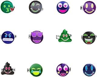12 حلقه حالت Emoji Mood قابل تنظیم برای زنان ، دختران ، کودکان و نوجوانان ، Tween - تغییر رنگ حلقه های Emoji با زرق و برق - مهمانی جشن تولد Emoji بزرگ لوازم جانبی - لوازم جانبی جواهرات مود سرگرمی برای کیف های Goodie