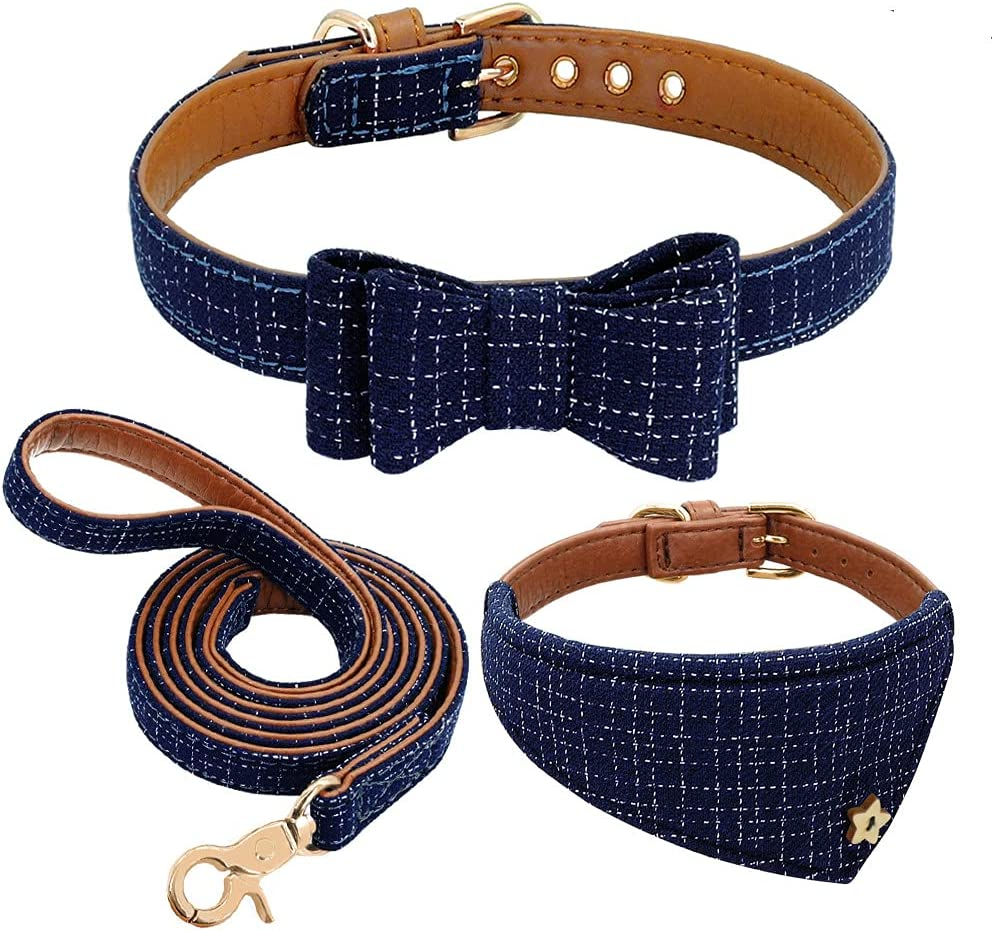 MCPPP Leather Dog Collar Bandana Leash Pet Inventory cleanup selling sale Plaid Bowknot Set Co Columbus Mall