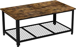 IRONCK Industrial Coffee Table for Living Room, Tea Table with Storage Shelf, Wood Look Accent Furniture with Metal Frame, Rustic Home Decor, Vintage Brown