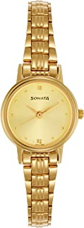 Sonata Analog Champagne Dial Women's Watch -8096YM02C
