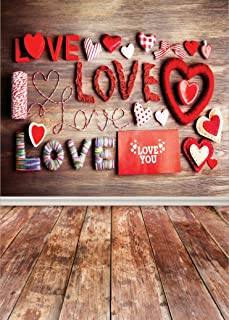 5x7ft Valentine's Day Photo Backdrops for Pictures Hearts and Love Pattern with Wood Board Photography Background for Lovers Newborns Baby Shower Portrait Photo Booth Studio Props QRJ-088