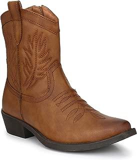 Intkoot Men's Tan Synthetic Cowboy Boots -9