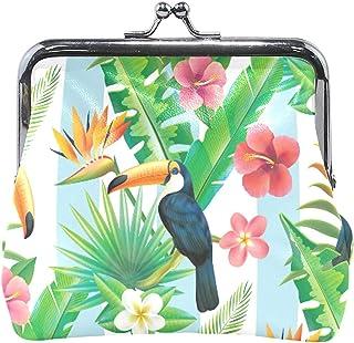 ウォレットレインフォレストオオハシピンクフローラルトロピカルリーフコインケースポーチレザーチェンジホルダーカードクラッチハンドバッグ