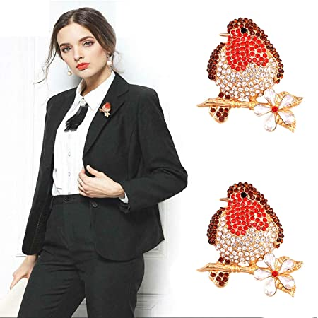 Rhinestone Enamel Broach Red Robin Brooches,Fashion Christmas Robins Brooches for Ladies,Xmas Gift Pins and Brooches Robins Jewellery 2Pack
