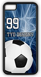 Cell Phone Case Fits iPhone Models 8 or 7 Create Your Own Soccer SC1003 with Player Jersey Number and/Or Name Or Team Name Customizable by TYD Designs in Black Rubber