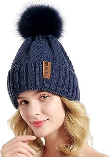 QUEENFUR Winter Cap for Women - Warm Wool Hat Cashmere Caps Knit Solid Beanies Hats