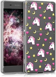 kwmobile Funda para Sony Xperia XA - Case para móvil en TPU silicona - Cover trasero Diseño Emoji de unicornio en rosa fucsia amarillo transparente