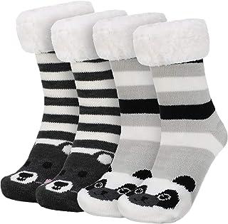 2 Pares de Calcetines de Invierno Cálidos Calcetines con Estampado de Animales Lindos Calcetines Borrosos para Mujeres (Estilo Set 5)