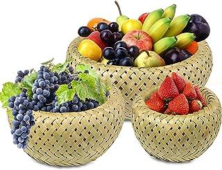Corbeille à fruit 3 pièces panier à fruit, panier fruit en bambou, corbeille à pain, Panier en bambou multifonctionnel pou...
