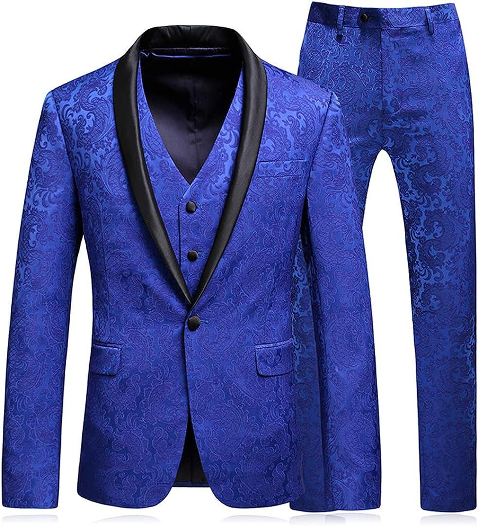 Groom Tuxedos Slim Fit Floral Jacquard Jacket Vest Pants 3 Pcs Set for Men Blazers Suits