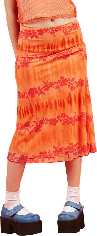 Women's Y2k E-Girl 90s Bohemian High Waist Midi Skirt Vintage A-line Skirt Trendy Heart Tie Dye Print Streetwear