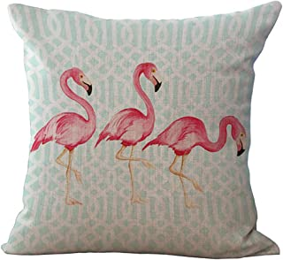 ChezMax Famingo Bird Stuffed Cushion Cotton Linen Throw Pillow Square Insert for Living Drawing Family Room Sofa Chair Seat