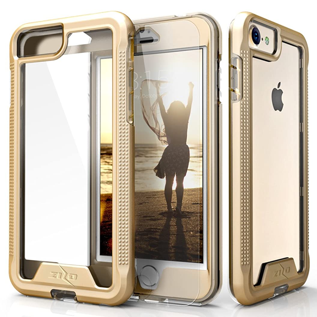 Zizo Ion Series Compatible with iPhone 8 Case Military Grade Drop Tested with Tempered Glass Screen Protector iPhone 6 iPhone 7 Case Gold Clear tbqzgwxldum80